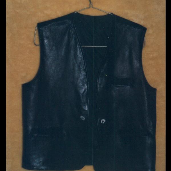 Black Deer Skin Vest with antler buttons